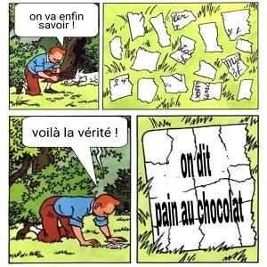 Pain au chocolat ou chocolatine variante