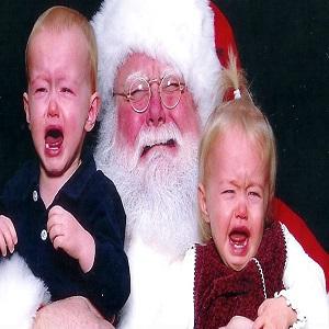 Les enfants et le Père Noël du supermarché